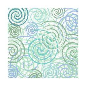 Blue Green Seaside Swirls Beach House Design Canvas Prints
