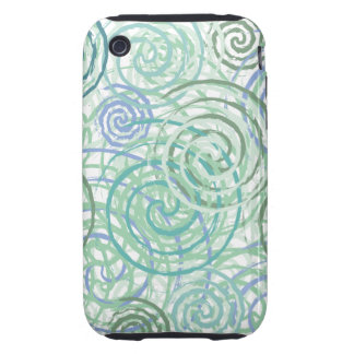 Blue Green Seaside Swirls Beach House Design iPhone 3 Tough Cases