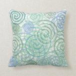 Blue Green Seaside Swirls Beach House Design Pillow