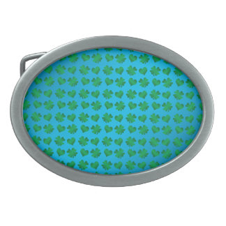 Blue green shamrocks and hearts belt buckles