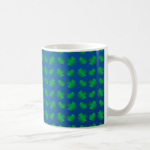 Blue green shamrocks and hearts coffee mug