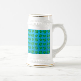 Blue green shamrocks and hearts 18 oz beer stein