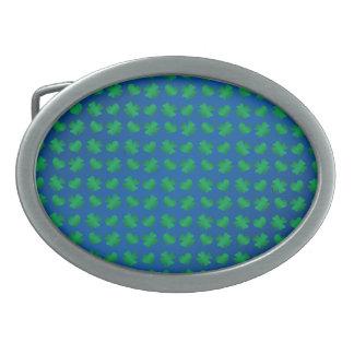 Blue green shamrocks and hearts oval belt buckles