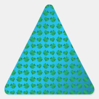 Blue green shamrocks and hearts triangle sticker