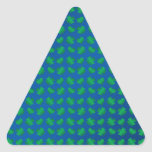 Blue green shamrocks and hearts triangle stickers