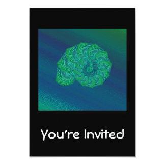 Blue, Green Shell. Abstract Art Design. Card