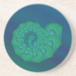 Blue, Green Shell. Abstract Art Design. Beverage Coasters