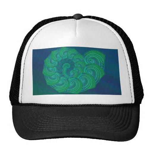 Blue, Green Shell. Abstract Art Design. Hats