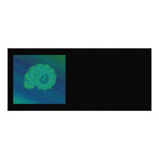 Blue, Green Shell. Abstract Art Design. Custom Invitations