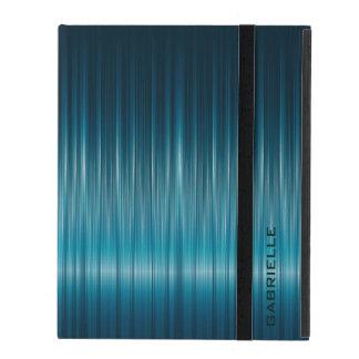 Blue-Green Shiny Carbon Fiber Look iPad Covers