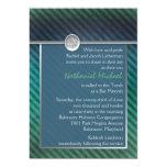 Blue, Green, Silver Striped Bar Mitzvah Invitation