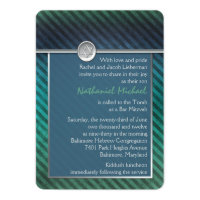 Blue, Green, Silver Striped Bar Mitzvah Invitation