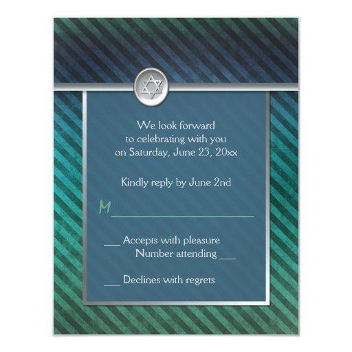 Blue, Green, Silver Striped Bar Mitzvah RSVP Card Invitation