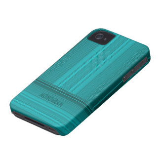 Blue-Green Simple 2-Way Stripes Pattern iPhone 4 Case-Mate Cases