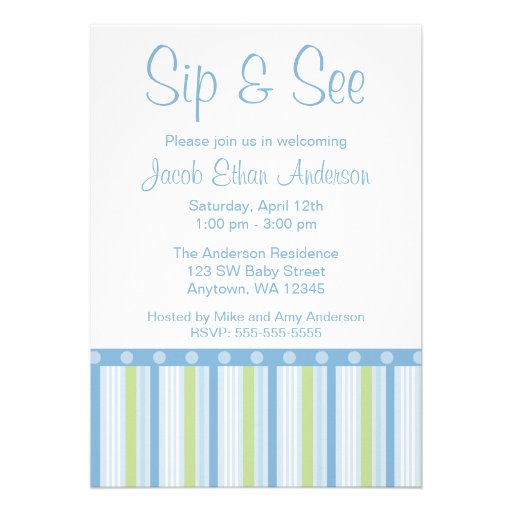 Blue Green Sip and See Stripes Card