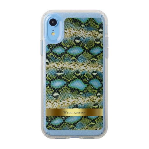 Blue Green Snakeskin Digital Leather Gold Metal Speck iPhone XR Case
