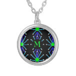 Blue & Green Spider Pattern With Monogram Silver Plated Necklace