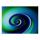 Blue Green Spiral Abstract Art Posters