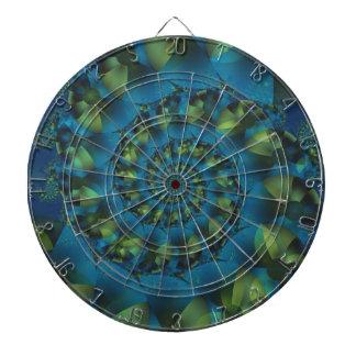 Blue & Green Spiral Fractal Dart Board
