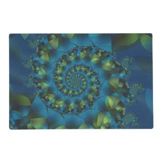 Blue & Green Spiral Fractal Placemat