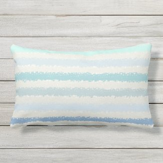 Blue Green Splash Stripe Outdoor Lumbar Pillow