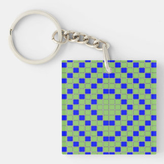 Blue & Green Squares Concentric Pattern Keychain
