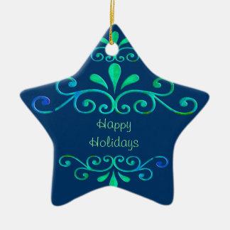 Blue & Green Star Ceramic Ornament