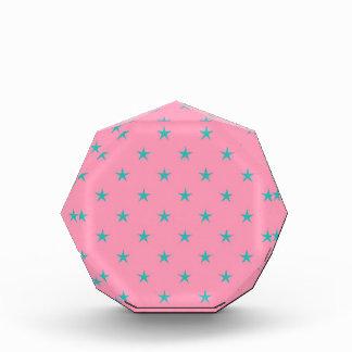 Blue Green Stars on Pink Background Award