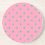 Blue Green Stars on Pink Background Beverage Coasters