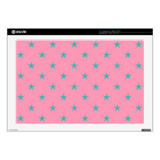 "Blue Green Stars on Pink Background Decal For 17"" Laptop"