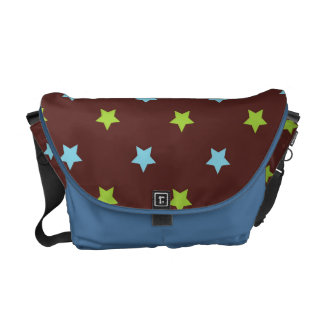Blue Green Stars Pattern Messenger Bag