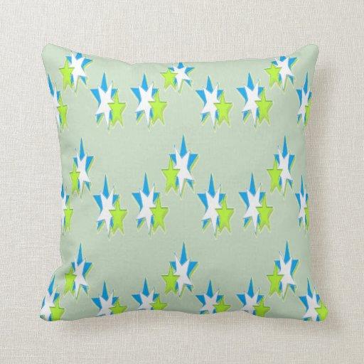 Throw Pillows Blue Green : Blue Green Stars throw pillow Zazzle