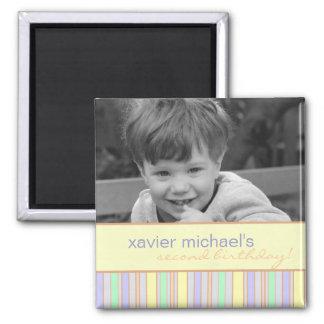 Blue & Green Stripe Birthday Photo Magnet
