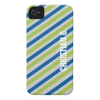 Blue green stripe pattern custom name personal Case-Mate iPhone 4 case