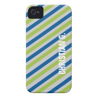 Blue green stripe pattern custom name personal iPhone 4 cover