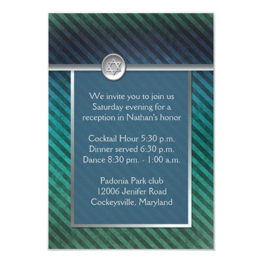 Blue, Green Striped Bar Mitzvah Enclosure Card