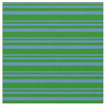 [ Thumbnail: Blue & Green Striped Pattern Fabric ]