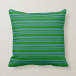 [ Thumbnail: Blue & Green Striped Pattern Throw Pillow ]