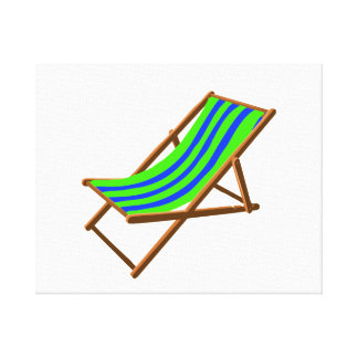 blue green striped wooden beach chair.png gallery wrapped canvas