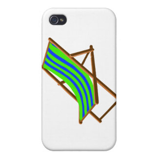 blue green striped wooden beach chair.png iPhone 4/4S cover