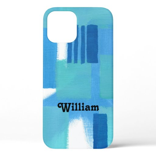 Blue Green Stripes Abstract Design Personalize Cas iPhone 12 Case