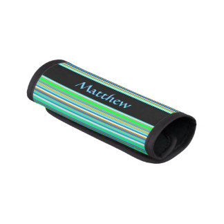 Blue Green Stripes Abstract Luggage Handle Wrap