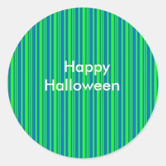 Blue Green Stripes Halloween Party Favor Sticker