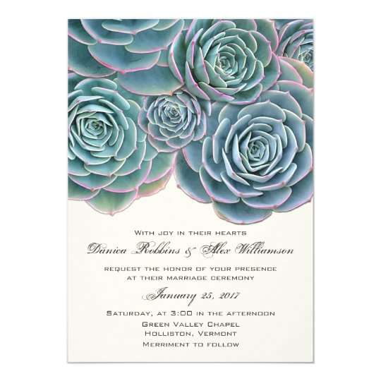 Blue Green Succulents Cream Wedding Invitations