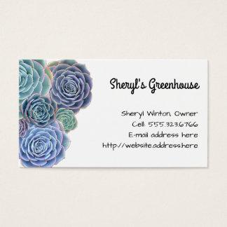 Blue Green Succulents Custom Template Business Card