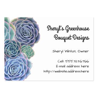 Blue Green Succulents Large Size Template Large Business Card
