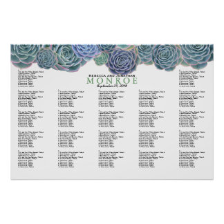 Blue Green Succulents Seating Chart Template Poster