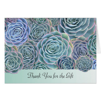 Blue Green Succulents Thank You Gift Card