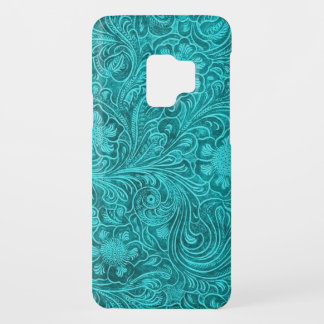 Blue-Green Suede Leather Floral Pattern Case-Mate Samsung Galaxy S9 Case
