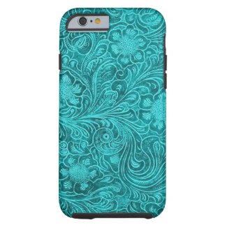 Blue-Green Suede Leather Look Retro Floral Design Tough iPhone 6 Case